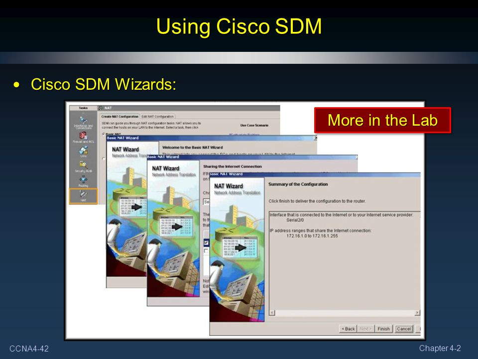 Using Cisco SDM Cisco SDM Wizards: More in the Lab