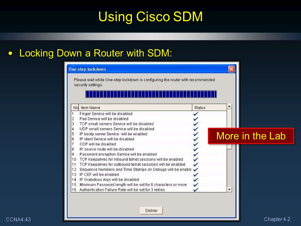 Using Cisco SDM Locking Down a Router with SDM: More in the Lab