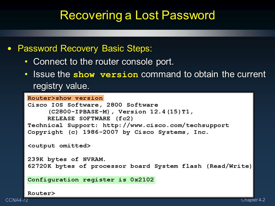 Recovering a Lost Password