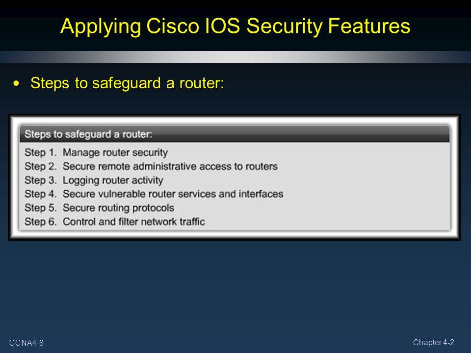 Applying Cisco IOS Security Features