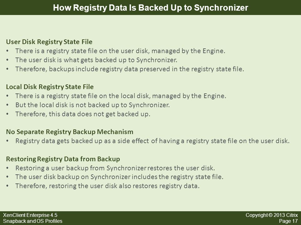 How Registry Data Is Backed Up to Synchronizer