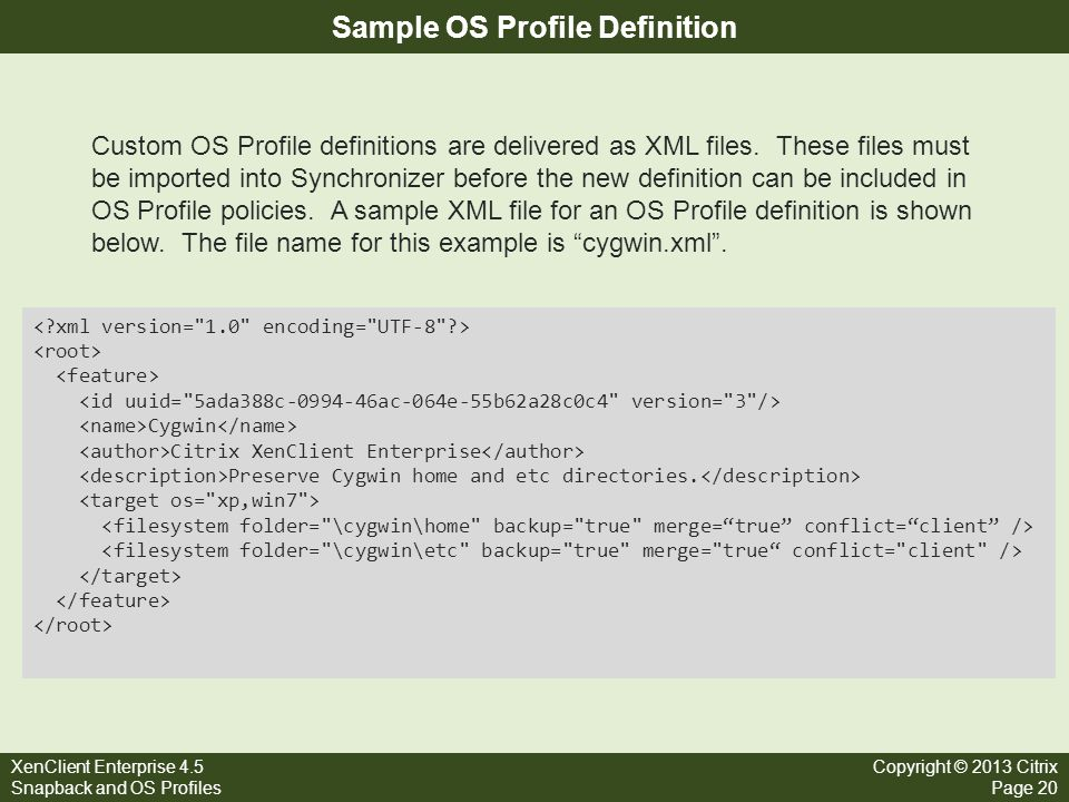 Sample OS Profile Definition