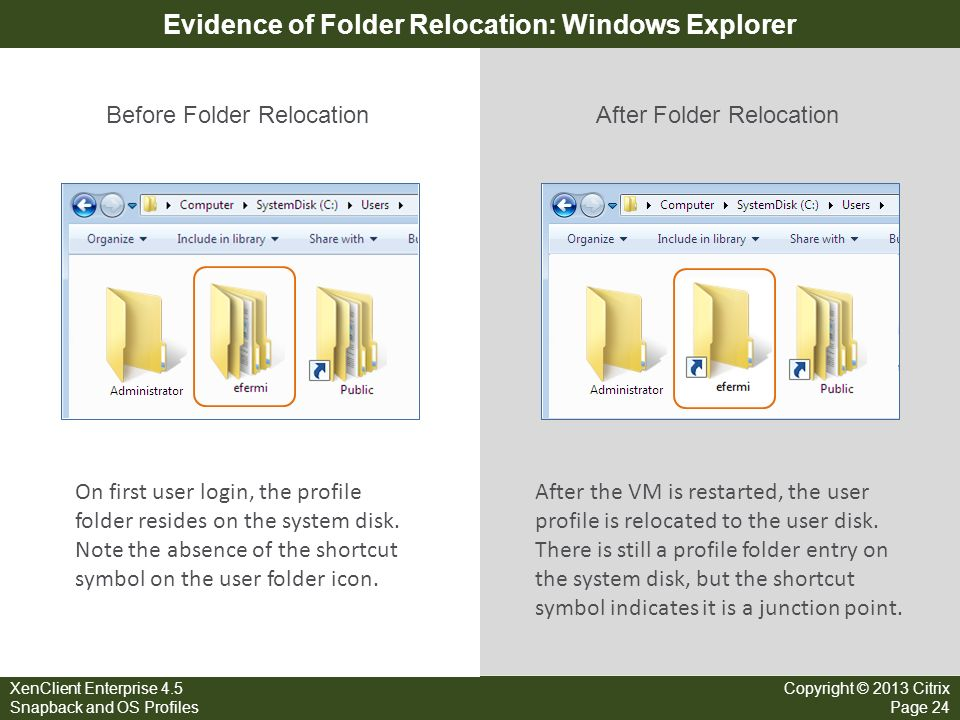 Evidence of Folder Relocation: Windows Explorer