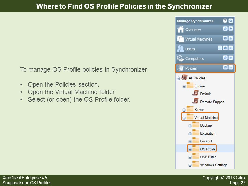 Where to Find OS Profile Policies in the Synchronizer