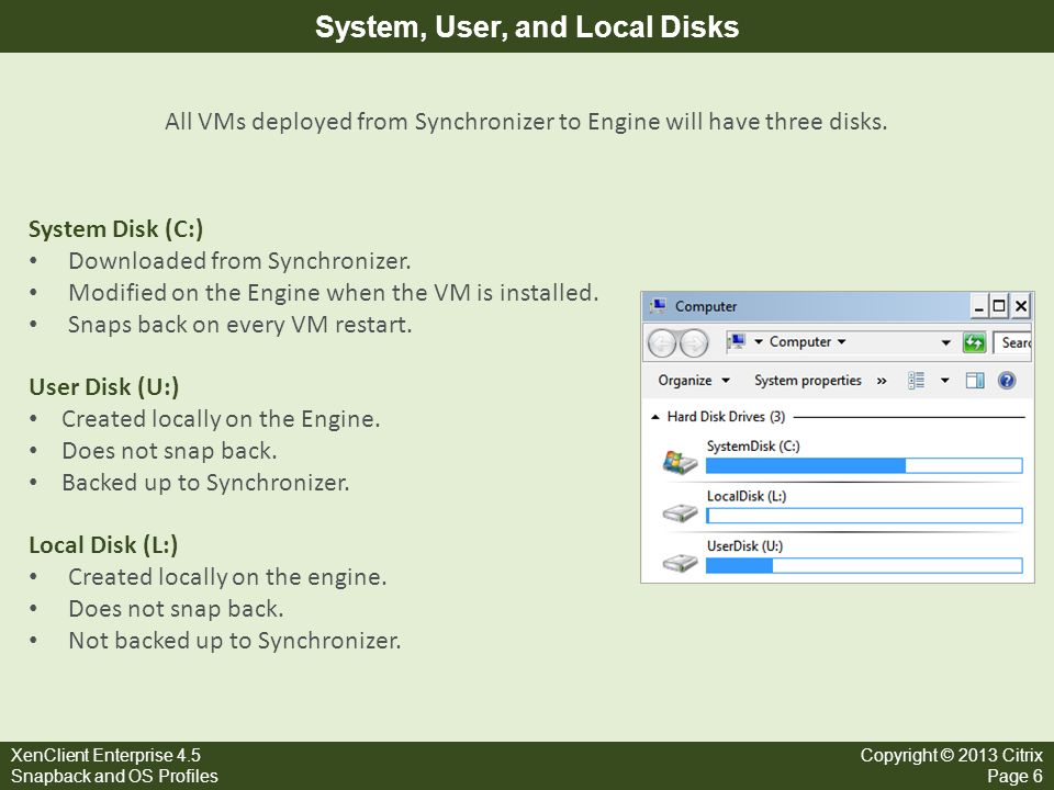 System, User, and Local Disks