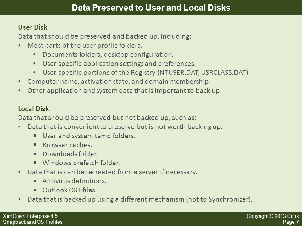 Data Preserved to User and Local Disks