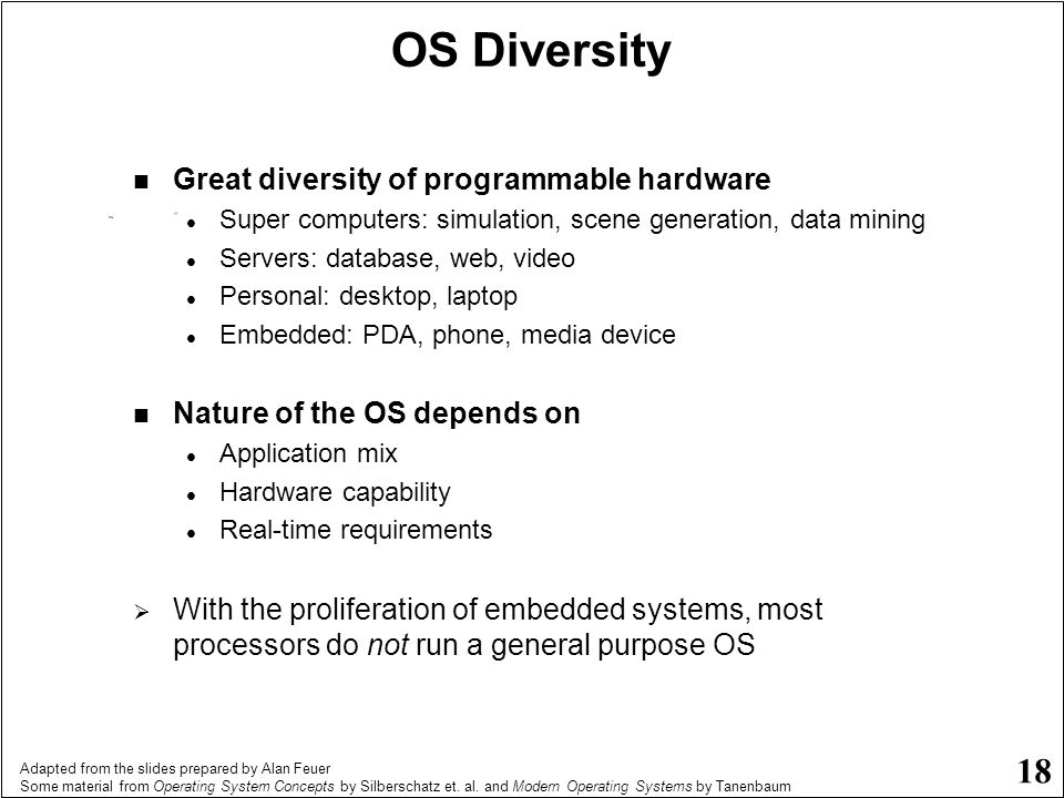 OS Diversity Great diversity of programmable hardware