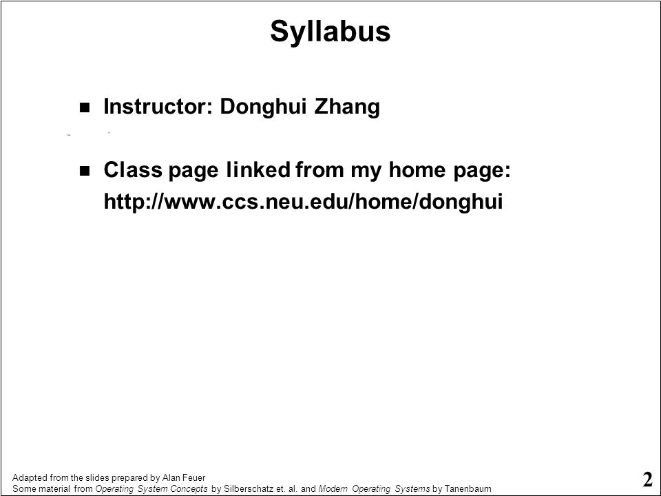 Syllabus Instructor: Donghui Zhang