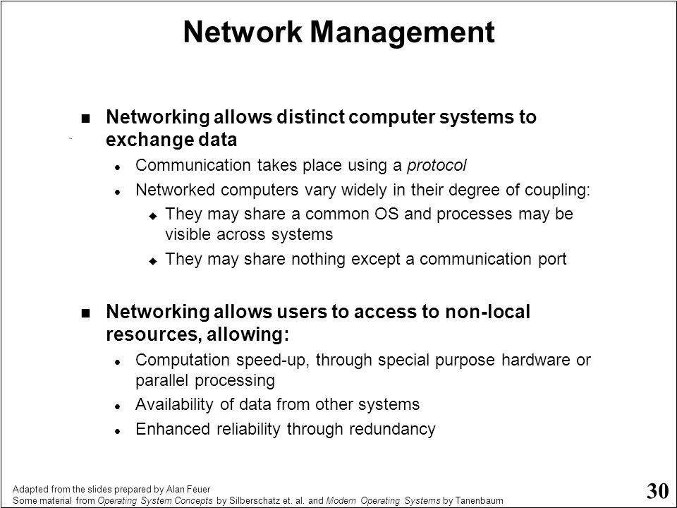 Network Management Networking allows distinct computer systems to exchange data. Communication takes place using a protocol.