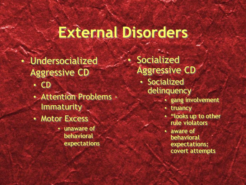 External Disorders Undersocialized Aggressive CD