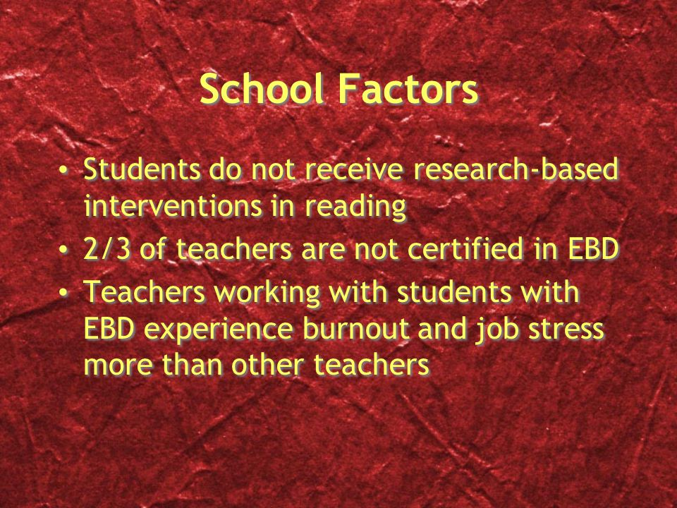 School Factors Students do not receive research-based interventions in reading. 2/3 of teachers are not certified in EBD.