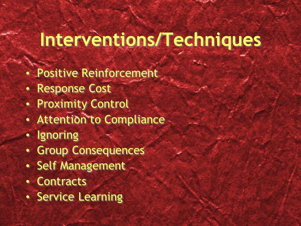 Interventions/Techniques