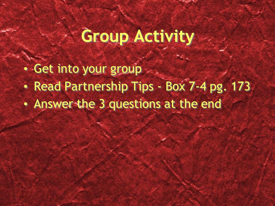 Group Activity Get into your group