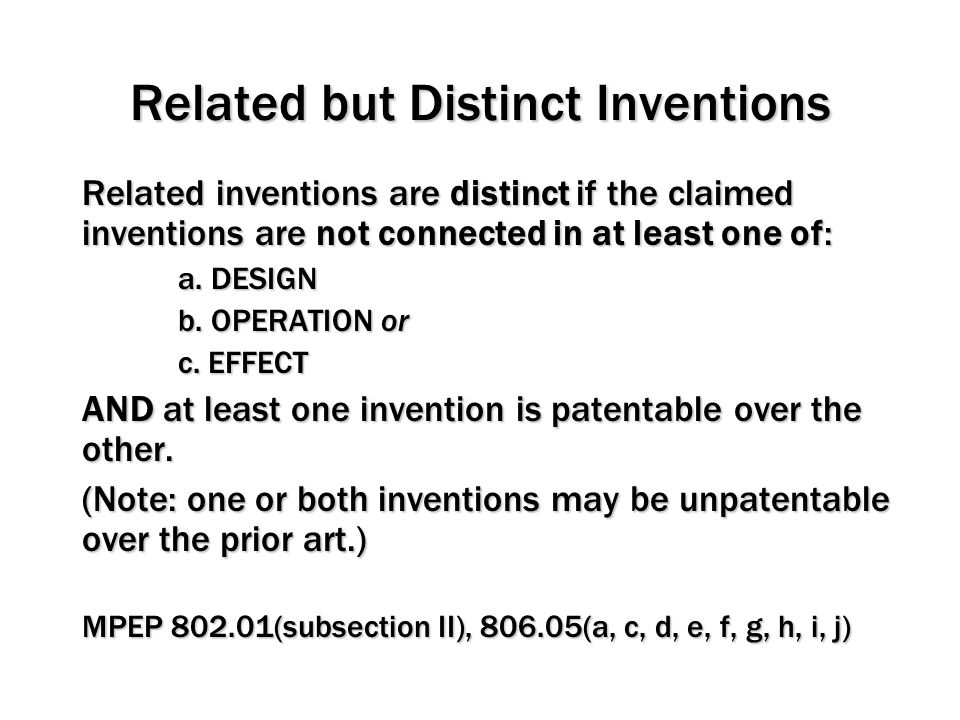Related but Distinct Inventions