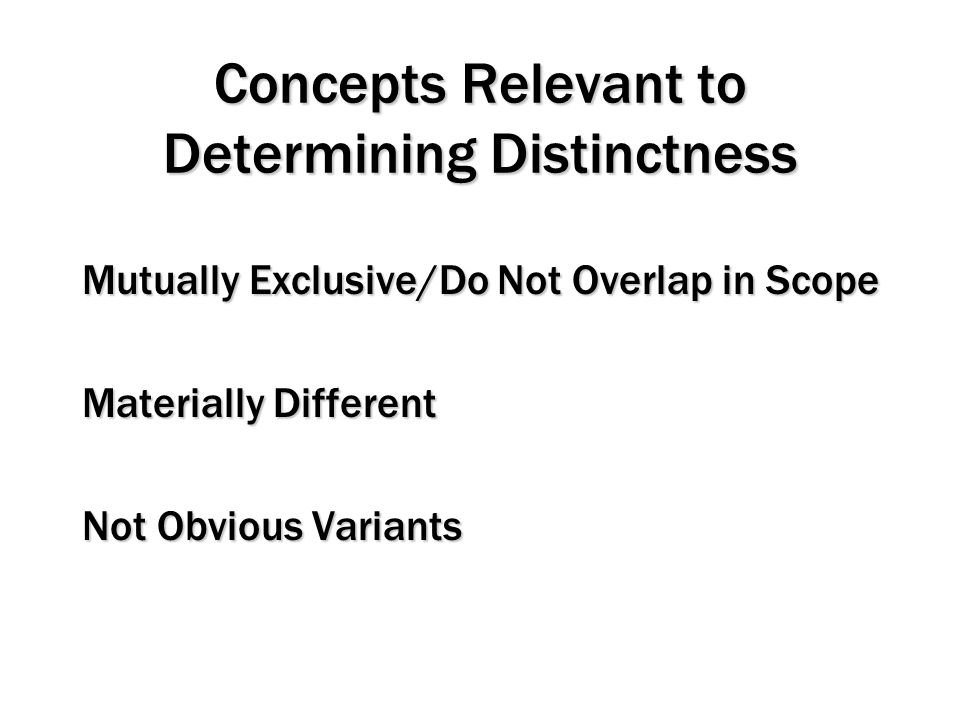 Concepts Relevant to Determining Distinctness