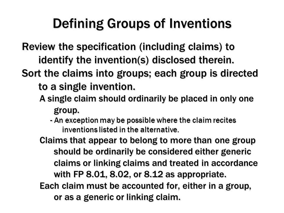 Defining Groups of Inventions