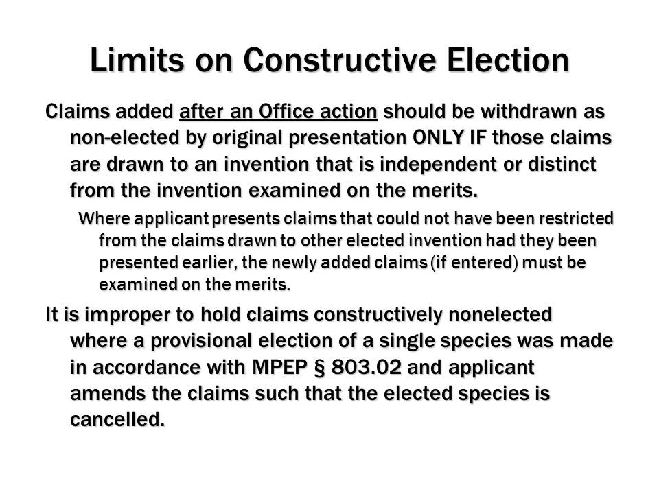 Limits on Constructive Election