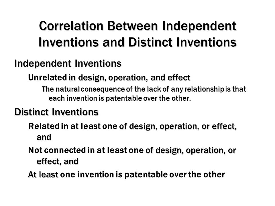 Correlation Between Independent Inventions and Distinct Inventions
