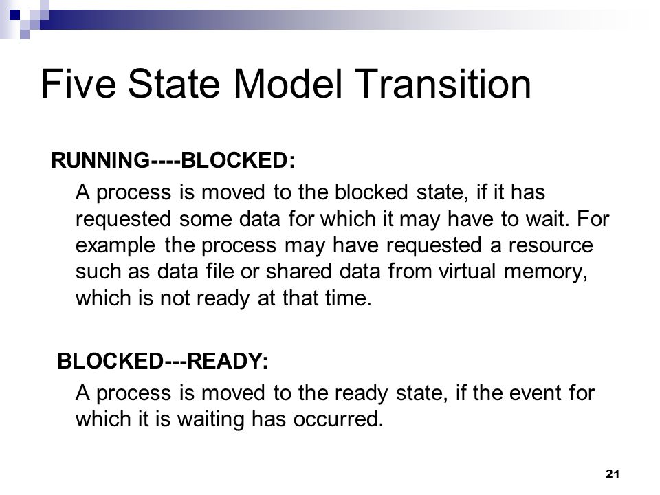 Five State Model Transition