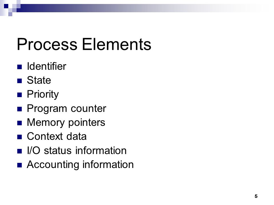 Process Elements Identifier State Priority Program counter