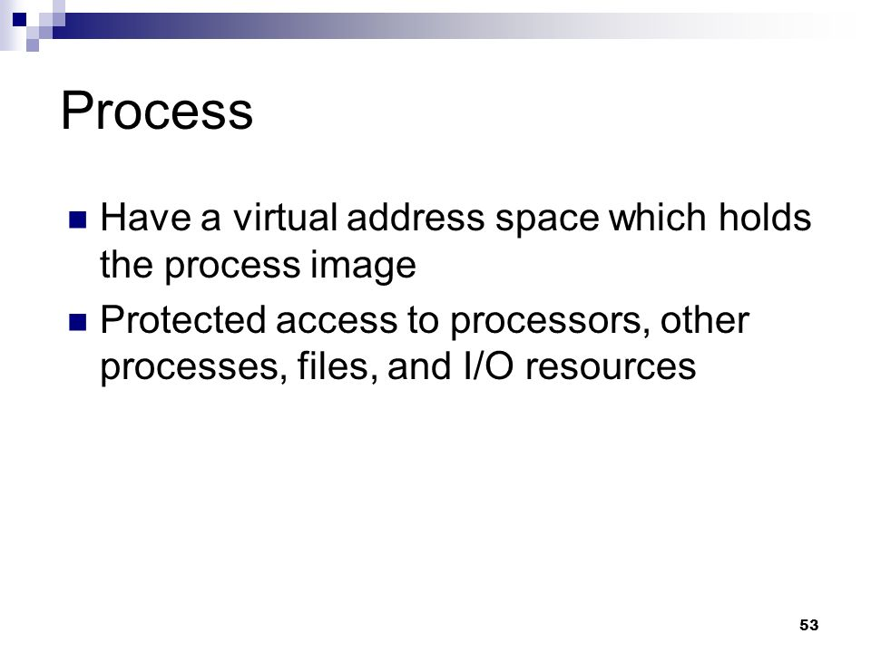 Process Have a virtual address space which holds the process image
