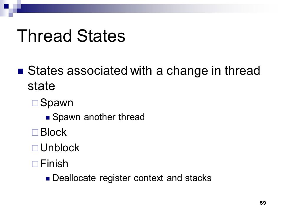 Thread States States associated with a change in thread state Spawn