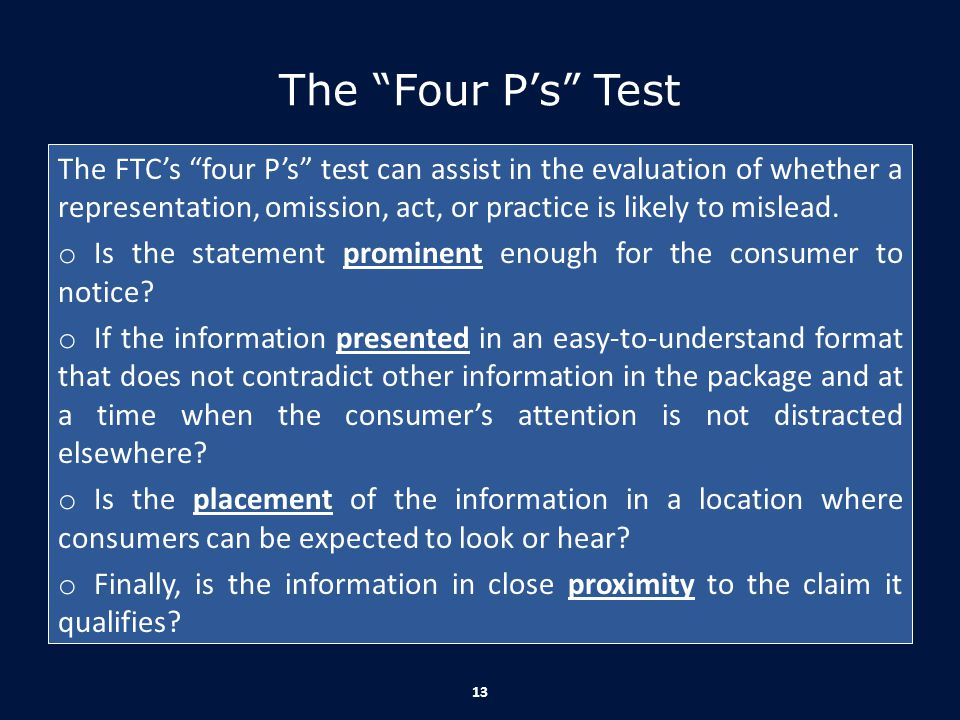 The Four P's Test