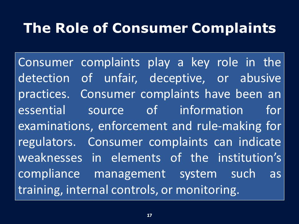 The Role of Consumer Complaints
