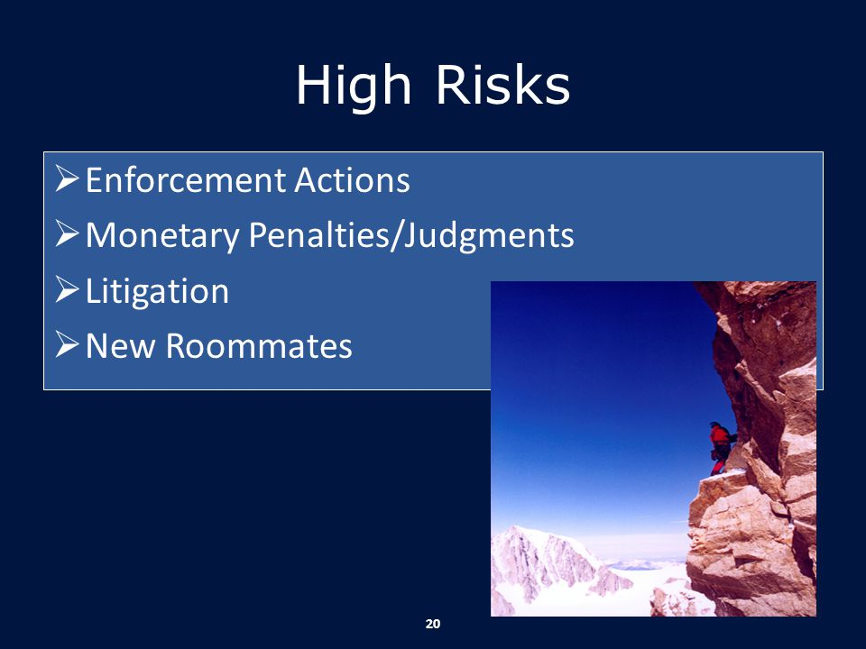 High Risks Enforcement Actions Monetary Penalties/Judgments Litigation