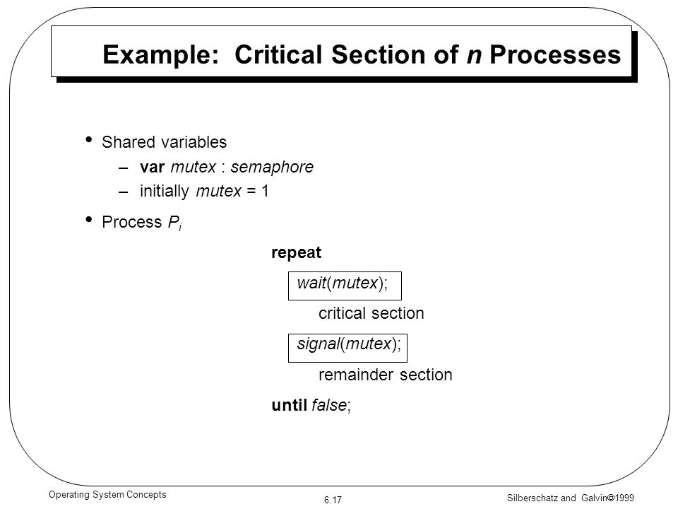 Example: Critical Section of n Processes