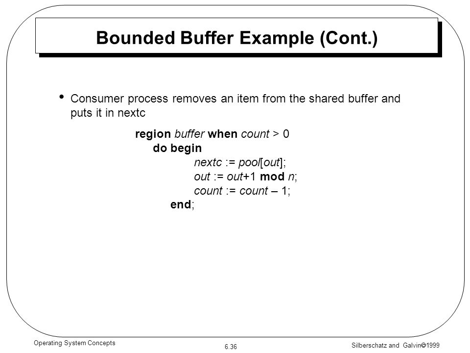 Bounded Buffer Example (Cont.)