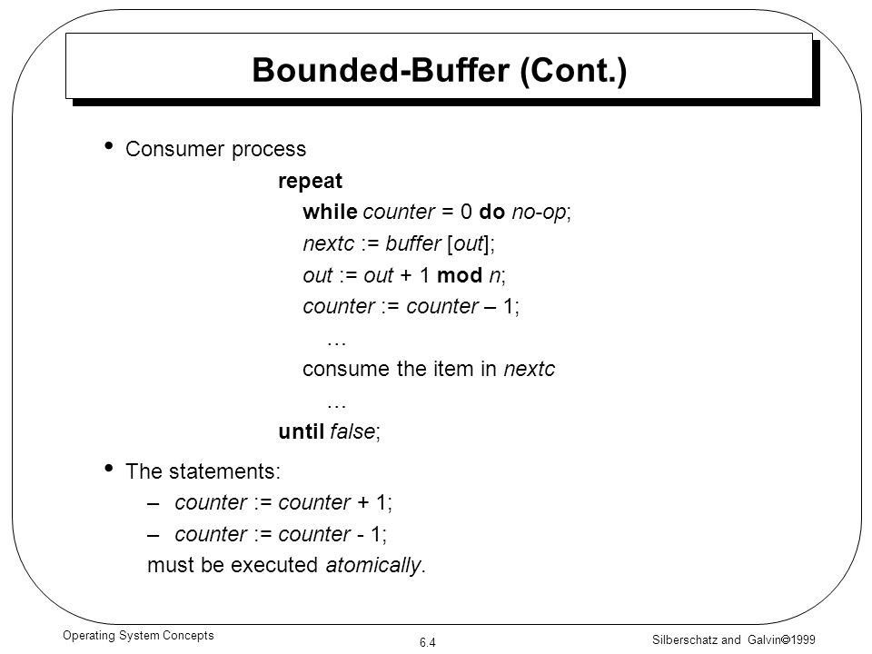 Bounded-Buffer (Cont.)
