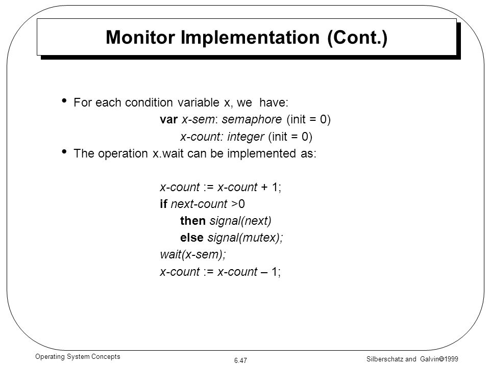 Monitor Implementation (Cont.)