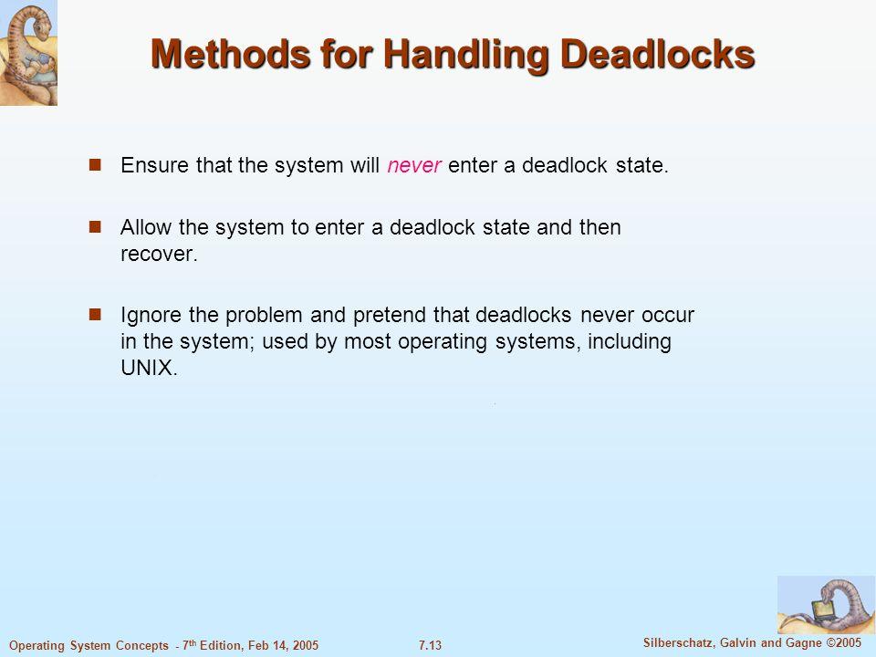 Methods for Handling Deadlocks