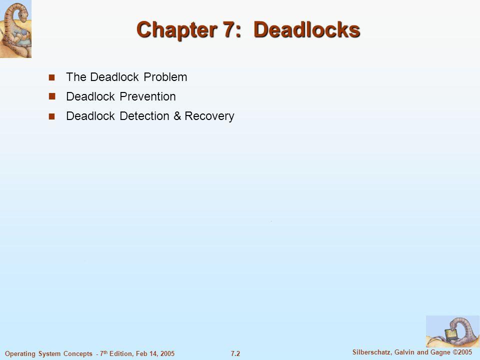 Chapter 7: Deadlocks The Deadlock Problem Deadlock Prevention