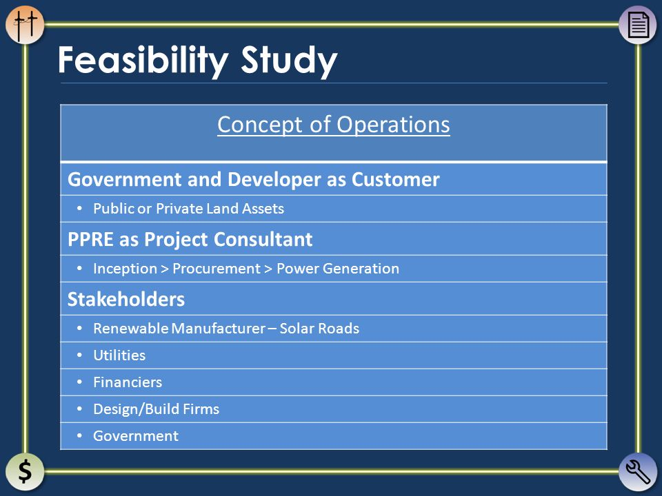 Feasibility Study Concept of Operations