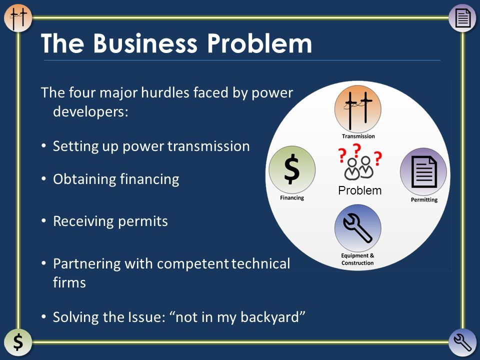 The Business Problem The four major hurdles faced by power developers: