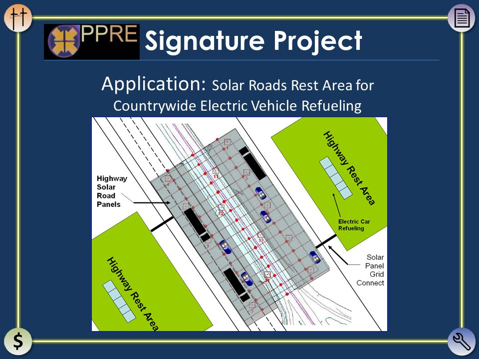 Signature Project Application: Solar Roads Rest Area for Countrywide Electric Vehicle Refueling