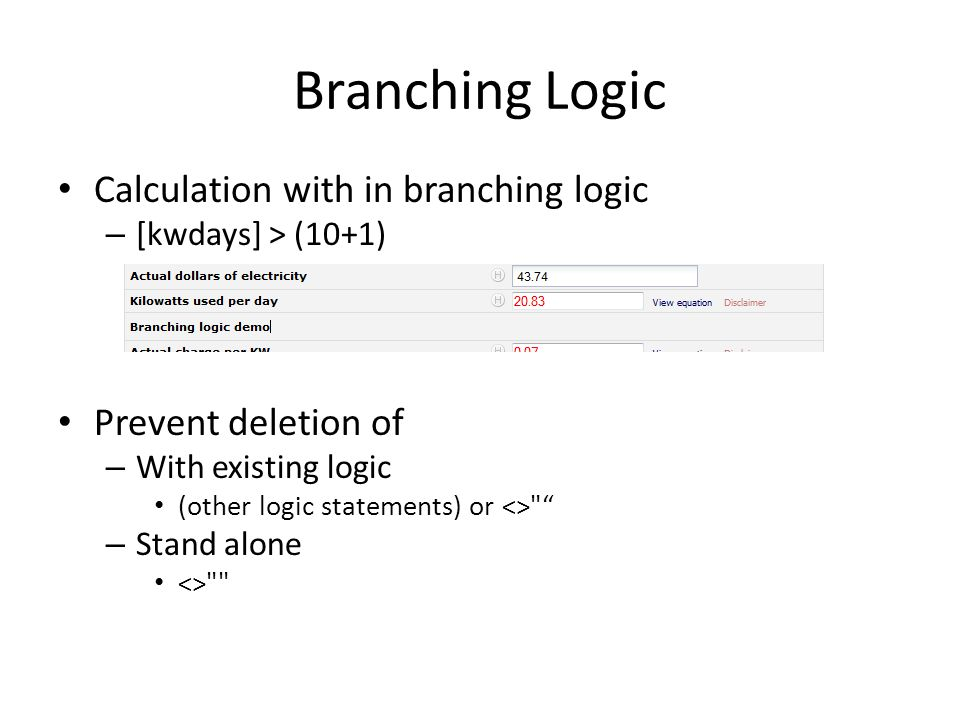 Branching Logic Calculation with in branching logic