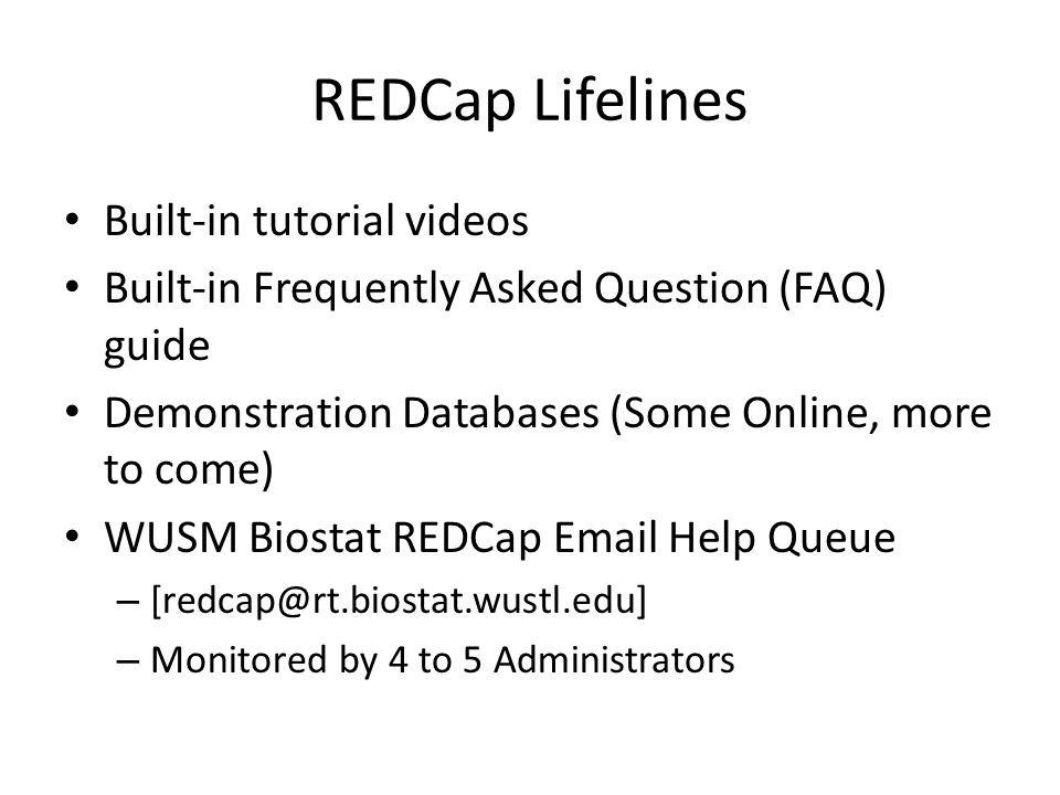 REDCap Lifelines Built-in tutorial videos