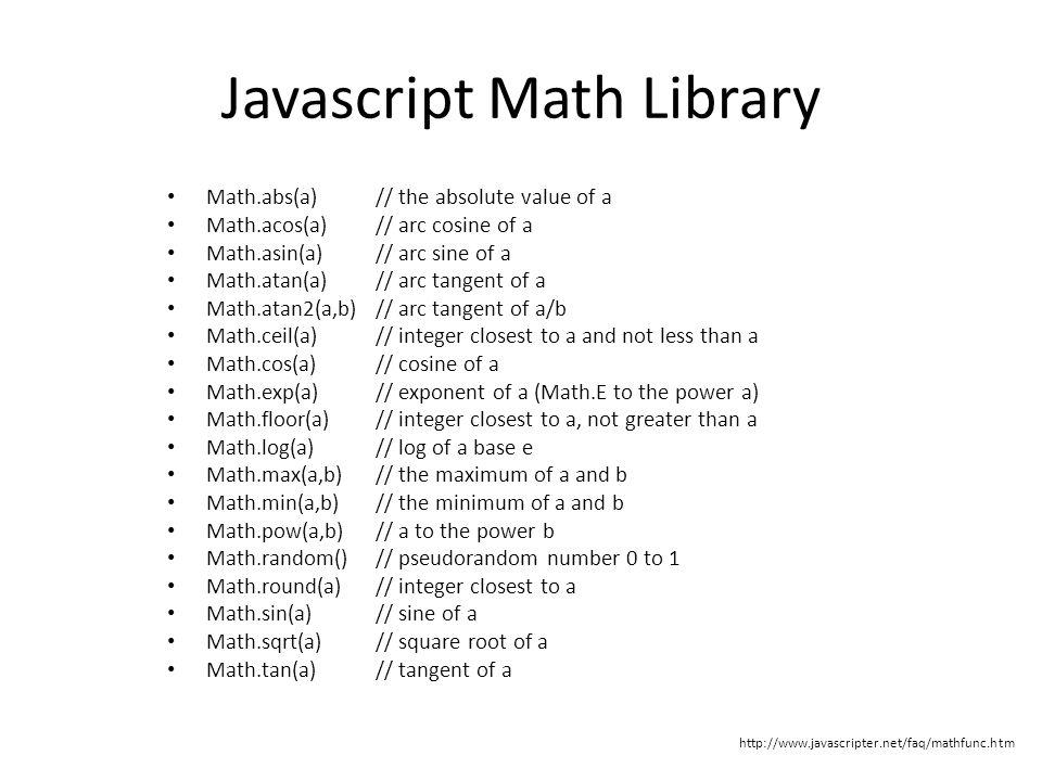 Javascript Math Library