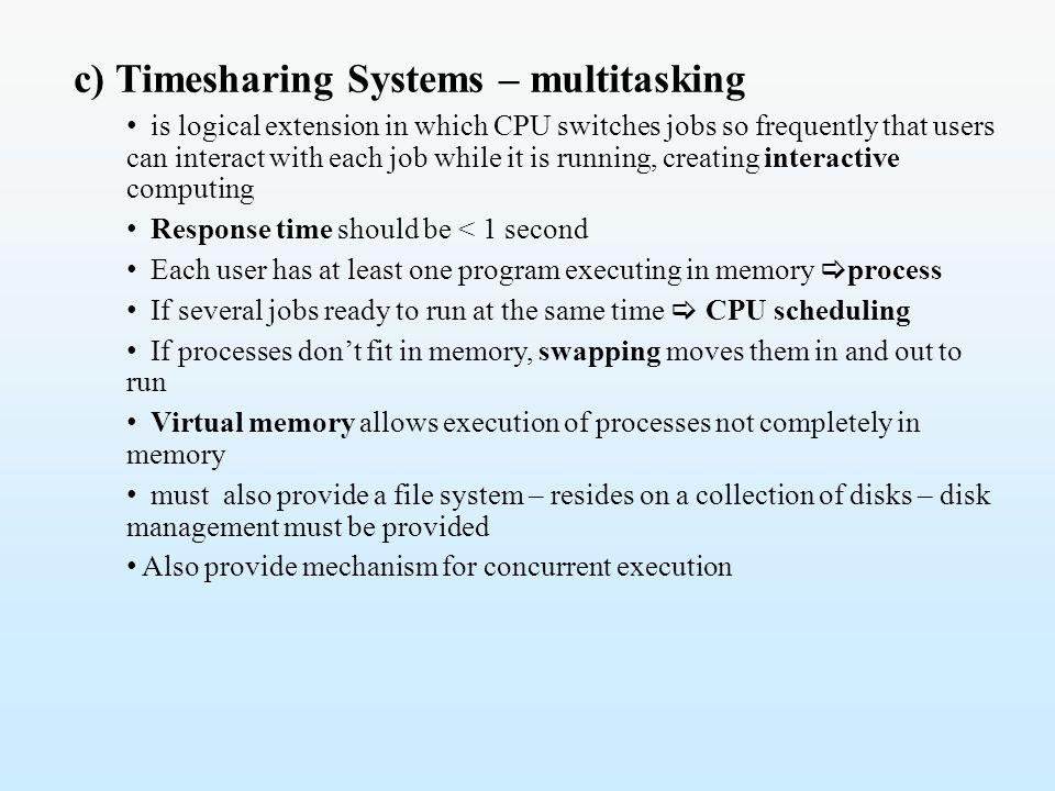 c) Timesharing Systems – multitasking