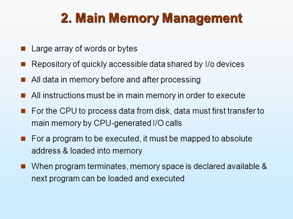 2. Main Memory Management