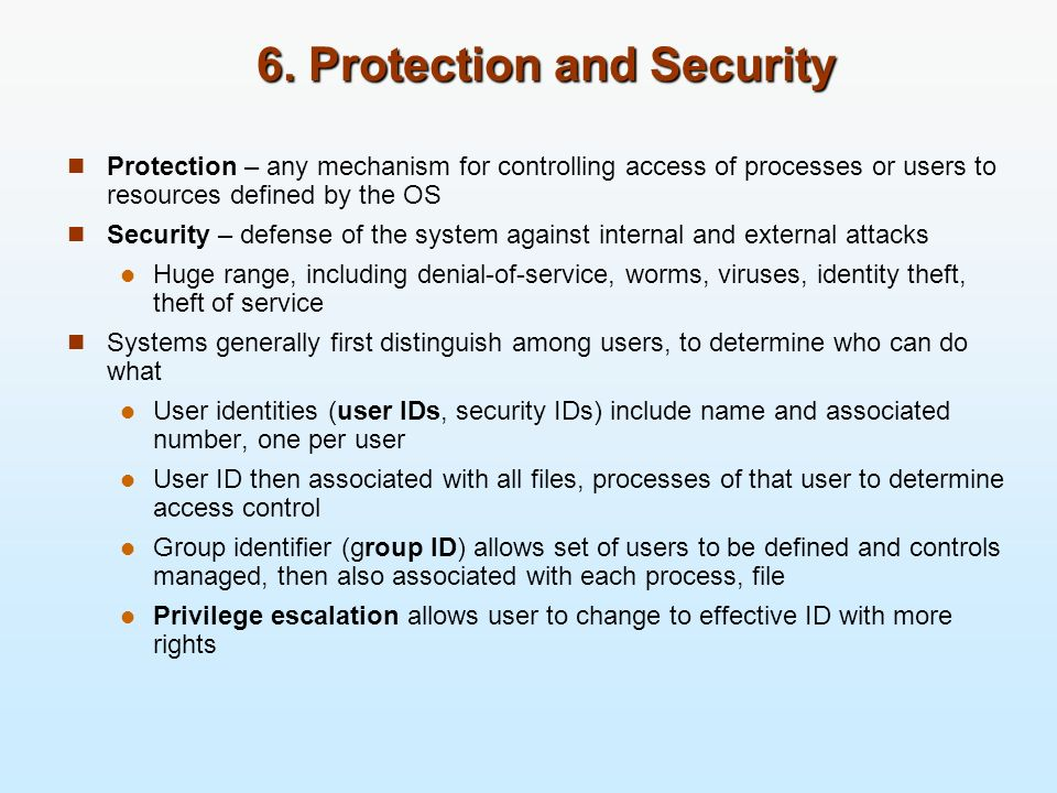 6. Protection and Security