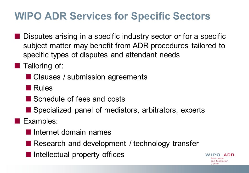 WIPO ADR Services for Specific Sectors