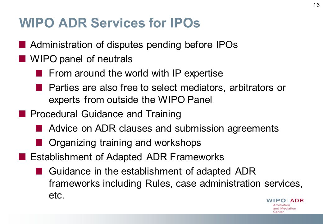 WIPO ADR Services for IPOs