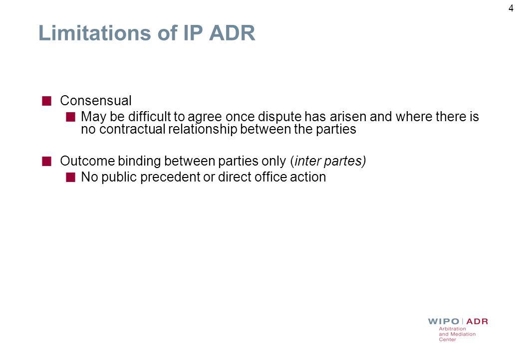 Limitations of IP ADR Consensual