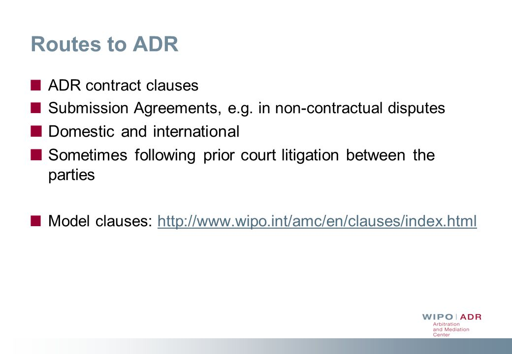 Routes to ADR Domestic and international