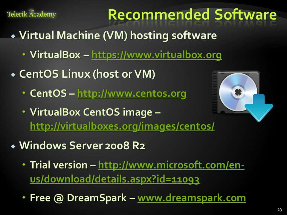 Recommended Software Virtual Machine (VM) hosting software