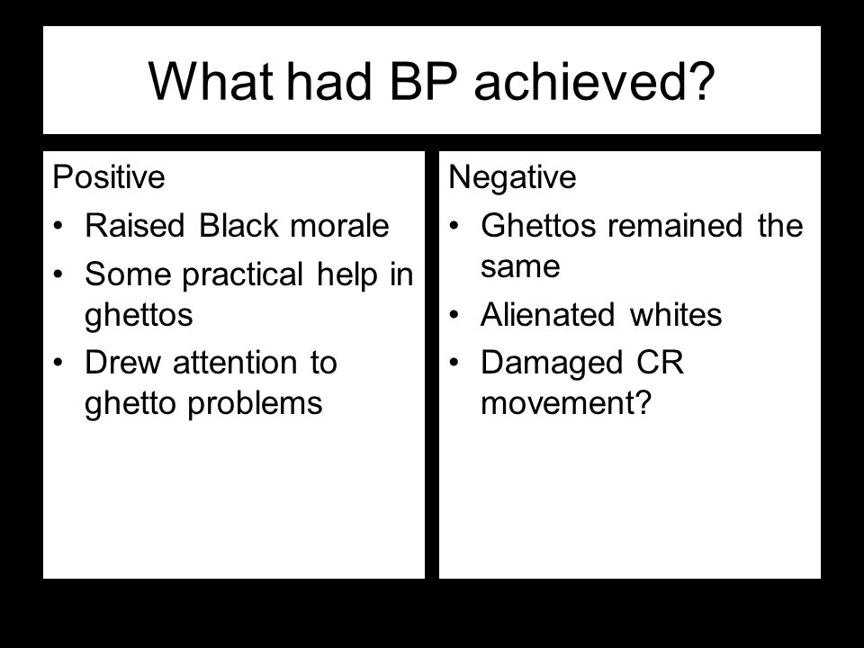 What had BP achieved Positive Raised Black morale